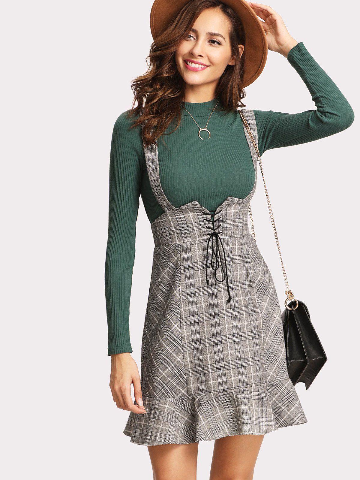 Green lace up dress  Lace Up Front Ruffle Hem Plaid Skirt  Plaid design Plaid and Ruffles