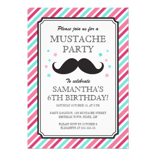 Pink aqua stripes mustache bash birthday party card The ou0027jays - best of birthday invitation card online maker