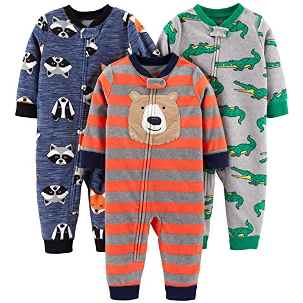 Simple Joys by Carters Girls 3-Pack Loose Fit Flame Resistant Fleece Footless Pajamas