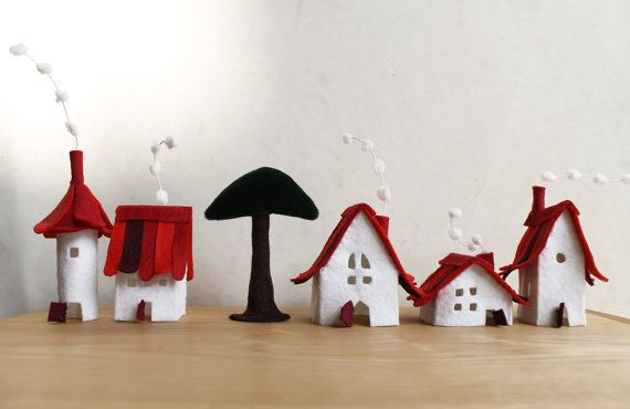 Miniature felt houses with tree, Home decor. Miniature of five lovely cottages in white with red roof and one tree. Made of felt, treated to get some