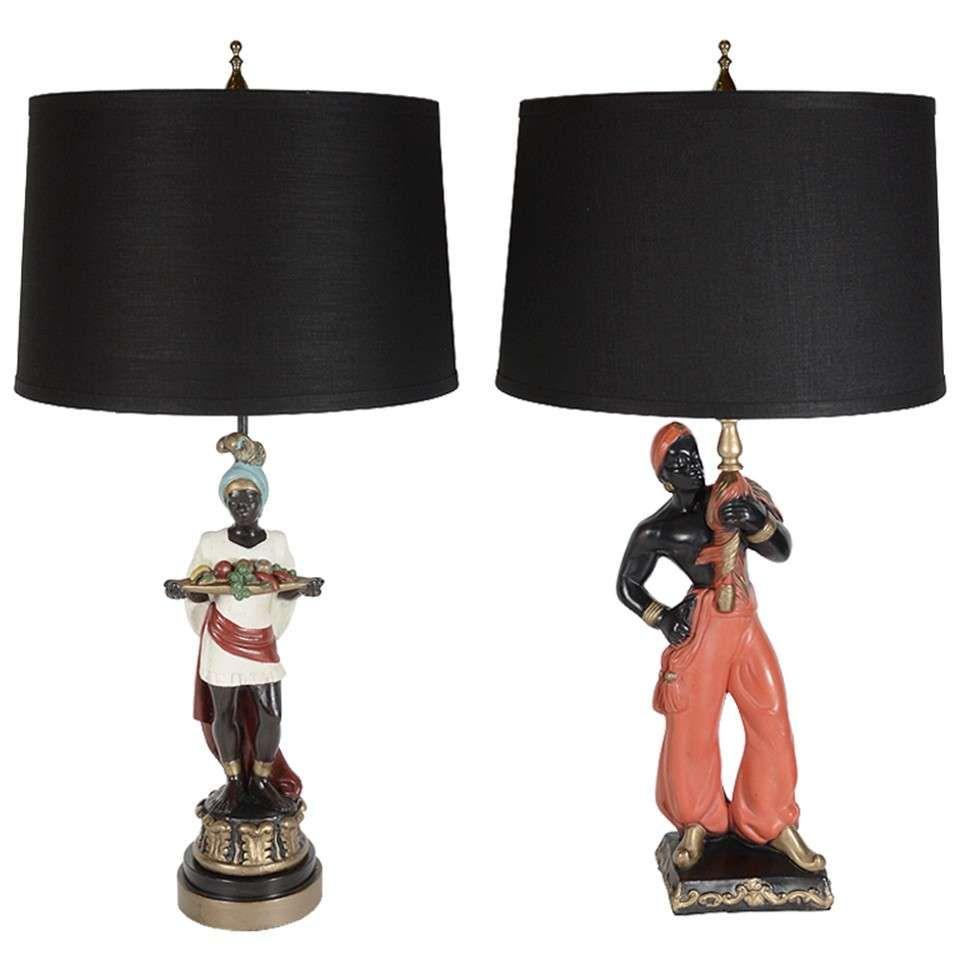 Par Of 1940 S Handpainted Blackamoor Lamps 1stdibs Com Art Deco Lamps Lamp Lighting