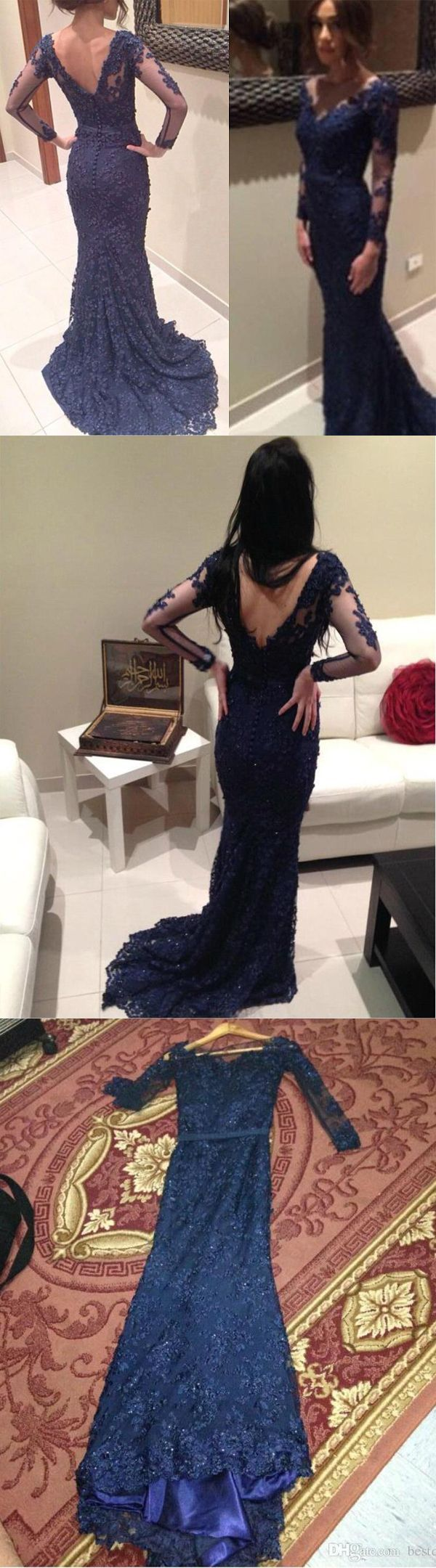 New mermaid v neck long sleeves navy blue lace prom dresses evening