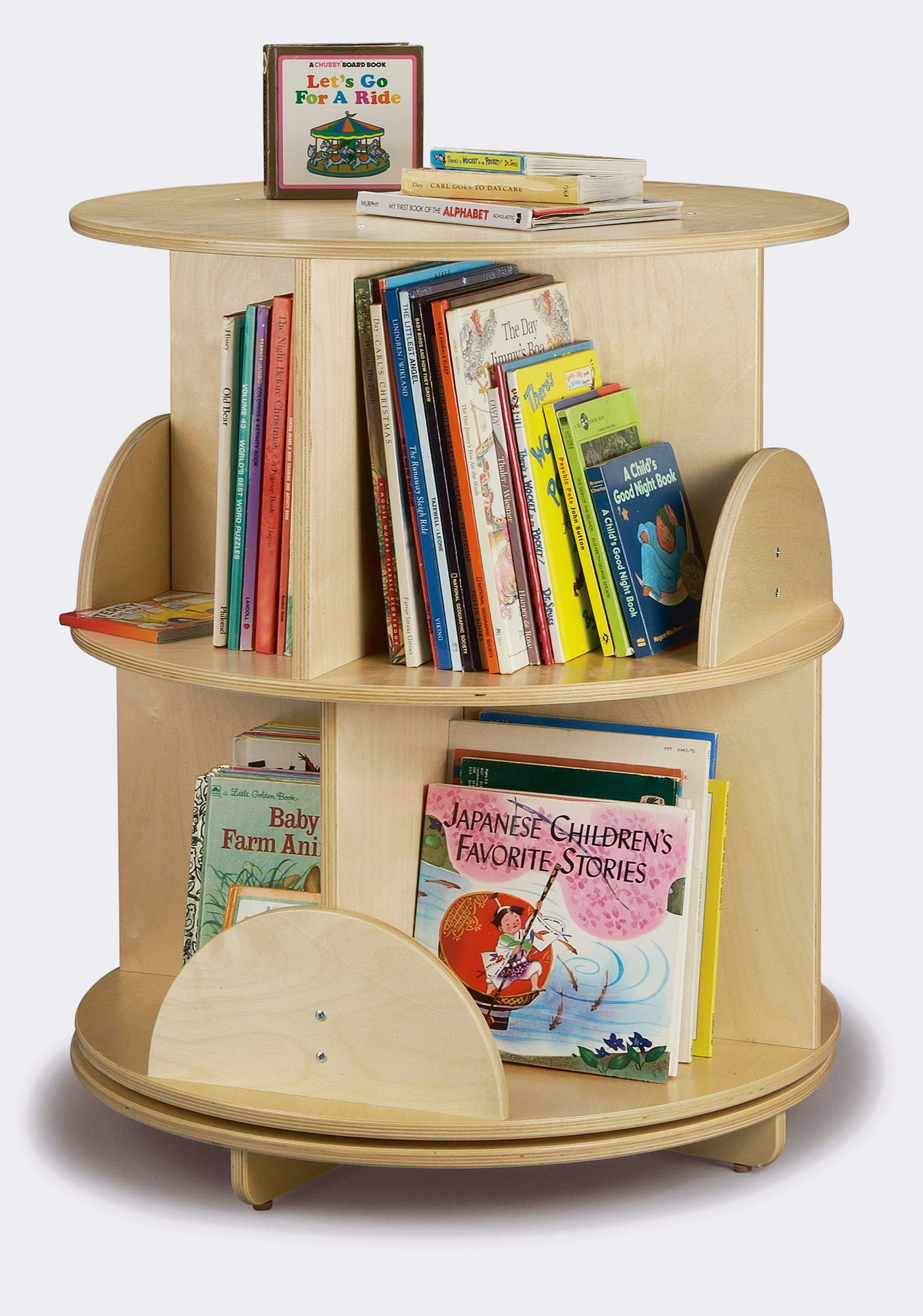 8 Compartment Book Display Revolving Bookcase Book Stands Kids Bookcase