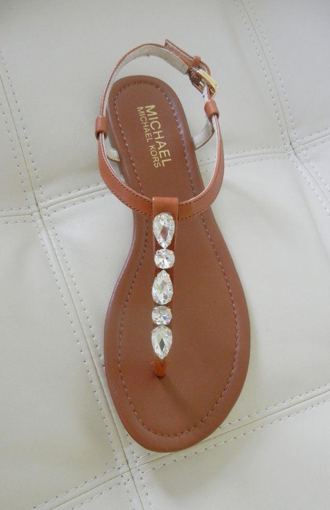 c56d80edb New Michael Kors Jayden Jeweled Flat Thong Sandals Luggage Size 8.5   MichaelKors  TStrap