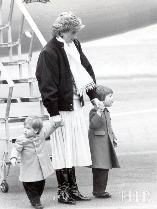 March 14, 1986: Princess Diana with Prince William & Prince Harry as they arrive at Aberdeen Airport In Scotland.