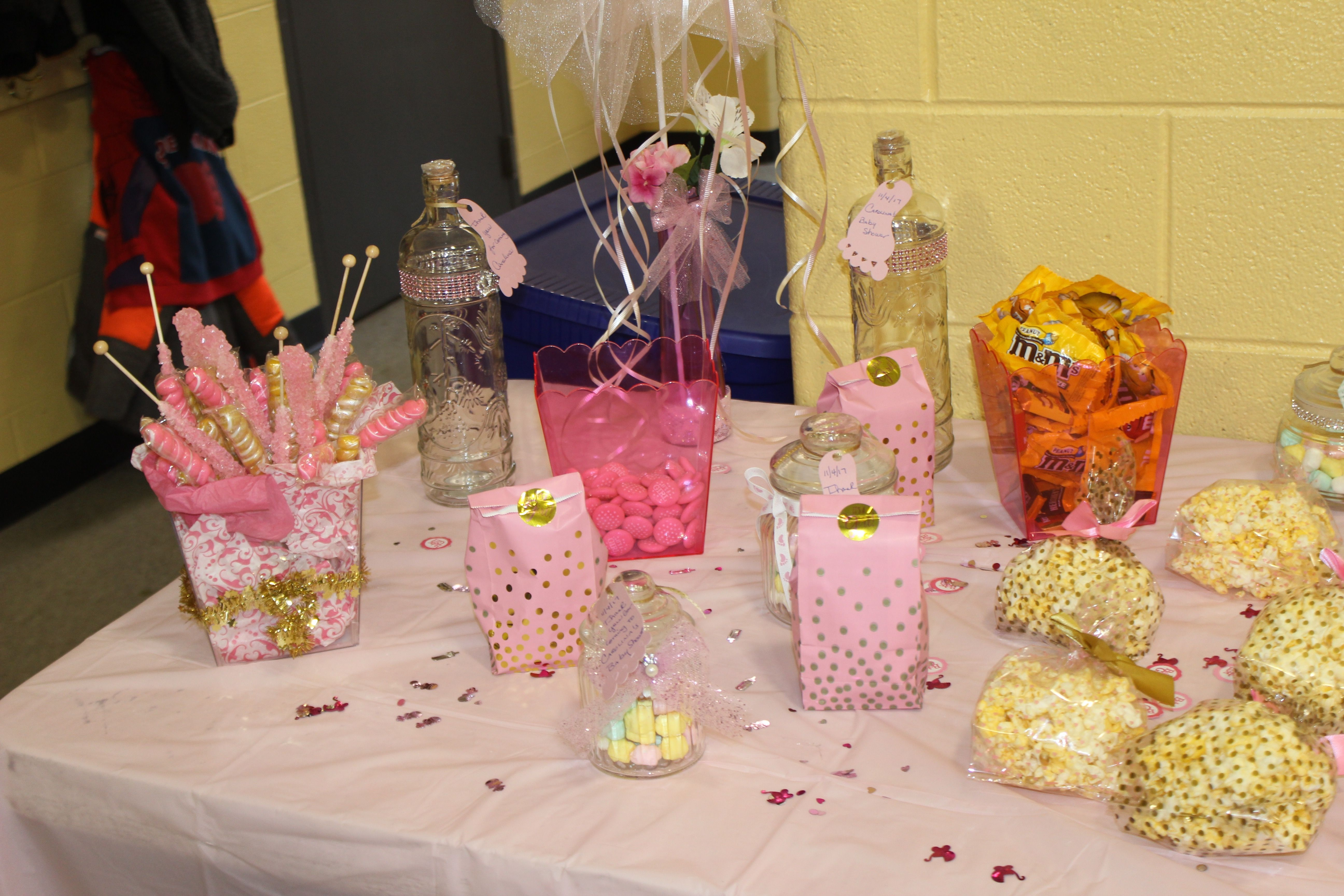 Pink And Gold Princess Baby Shower Candy Table Ideas Baby Shower Candy Table Baby Shower Princess Baby Shower Candy