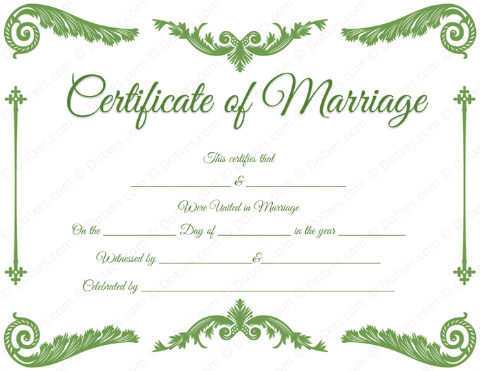 Royal Corner Marriage Certificate Format For Pdf  Printable