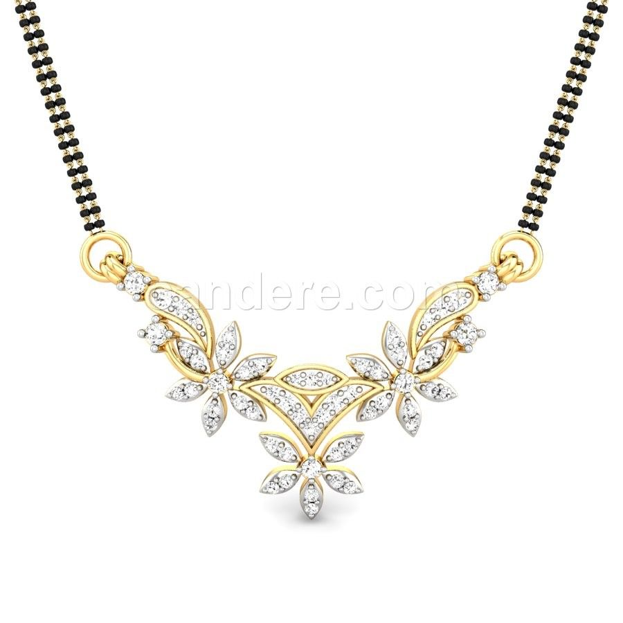 Buy yellow gold 18k 436 diamond no dhara diamond mangalsutra buy yellow gold 18k 436 diamond no dhara diamond mangalsutra pendant online at candere all india free shipping plus easy interest free emi facility aloadofball Images