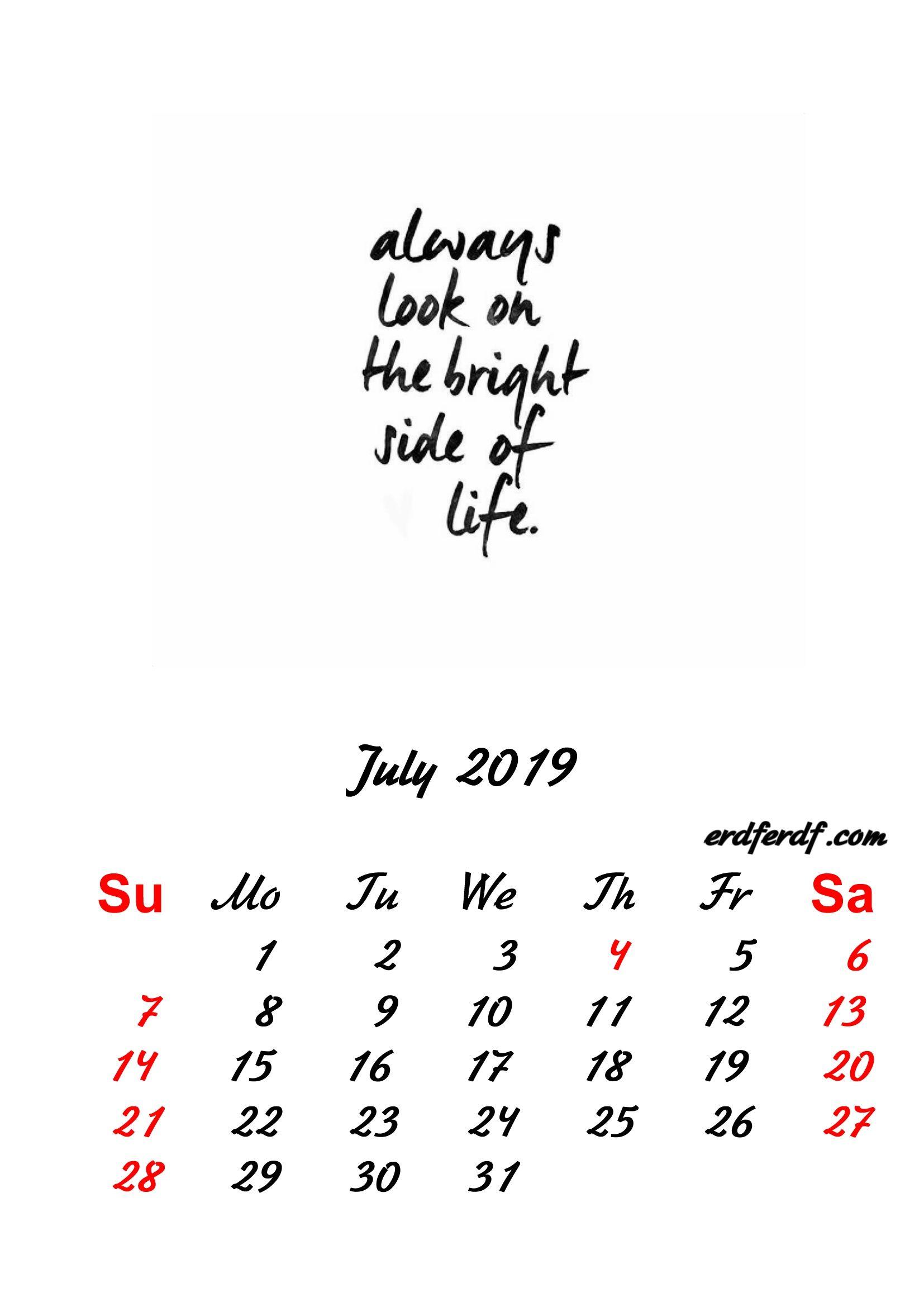2019 Inspirational Quotes Printable Calendar Printable