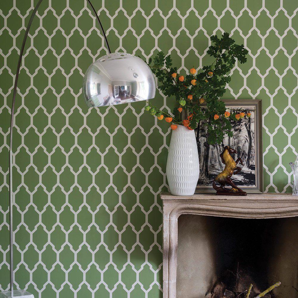 quand le papier peint graphique r veille les murs papier peint graphique farrow ball et. Black Bedroom Furniture Sets. Home Design Ideas