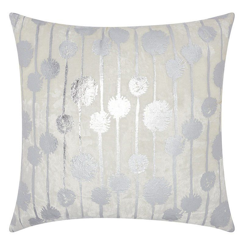 Mina Victory by Nourison Luminescence Dandelions Decorative Throw Pillow Silver - 798019040352