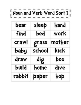 Nouns and Verbs Word Sort I and II | Education - First grade ...
