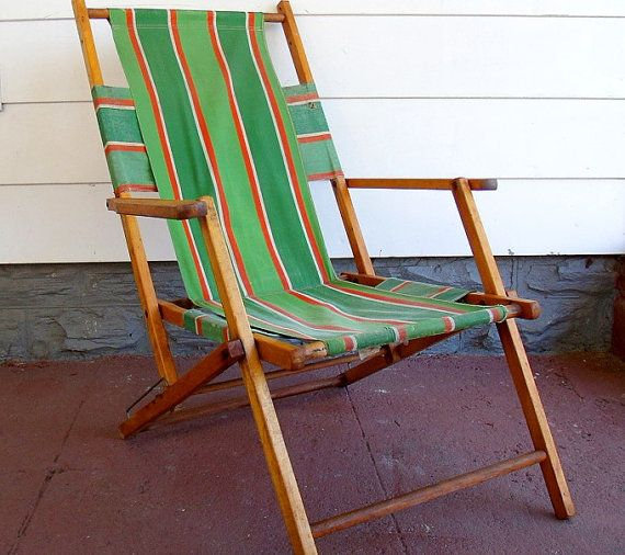 Vintage Wood And Canvas Folding Beach Chair Retro