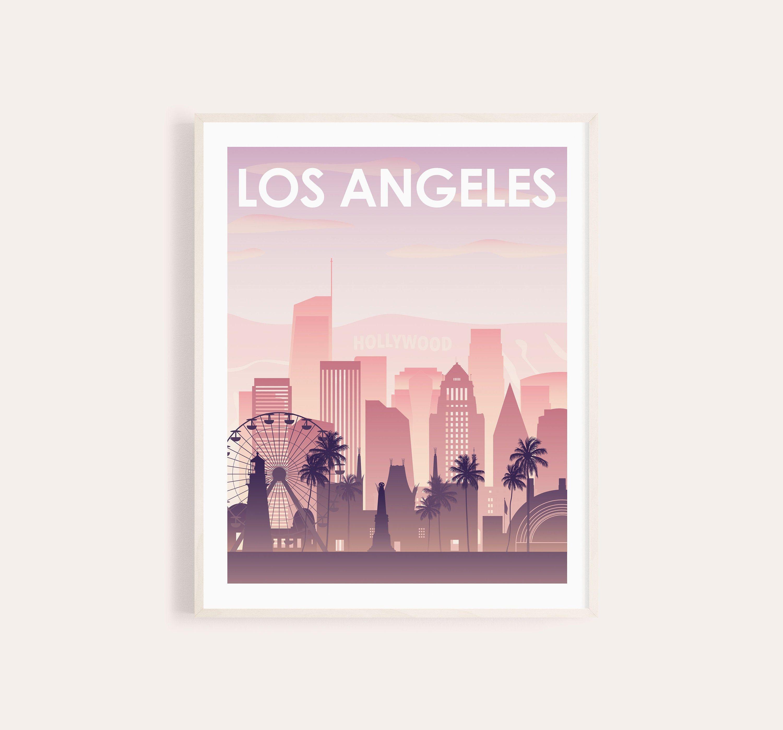 Los Angeles La Hollywood City Skyline Silhouette Wall Decal Custom Vinyl Art Stickers Los Angeles Skyline Skyline Silhouette City Skyline Silhouette