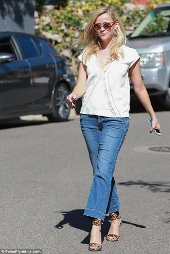 a3c0a0be816e Reese Witherspoon wearing Gianvito Rossi Leopard-Print Calf Hair Ankle-Wrap  Sandal: