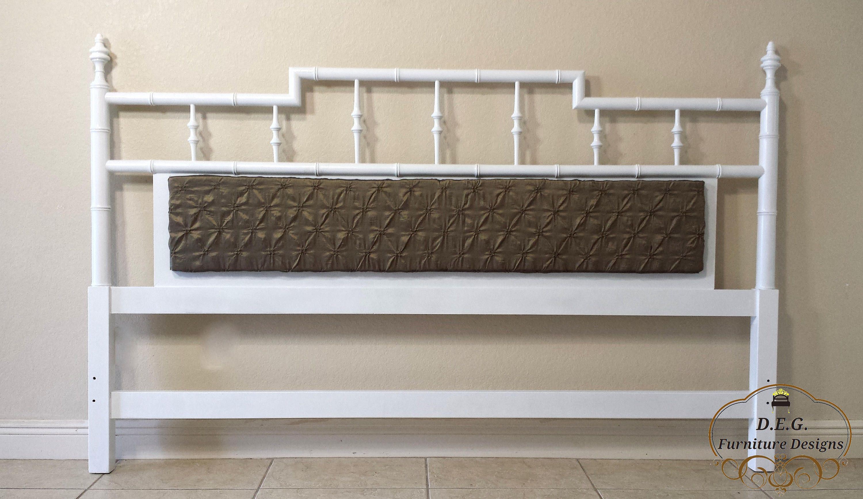 Faux Bamboo King Size Headboard Pagoda Style With Center Cushion