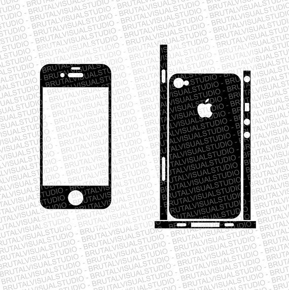 Iphone 4 - Skin Cut Template with lateral stripes - Templates for