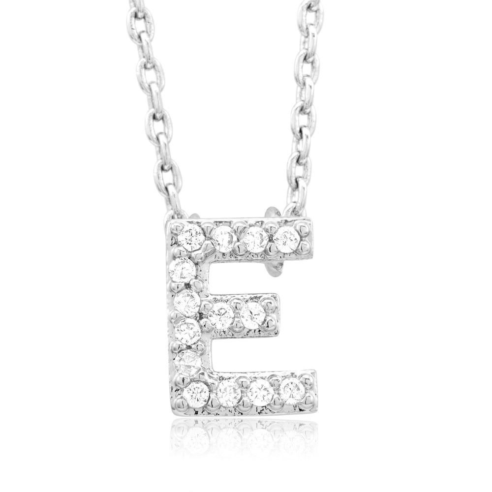 Sterling silver plated cubic zirconia letter uau pendant necklace