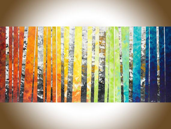 54Rainbow colour art Original oil painting Wall art by QiQiGallery ...
