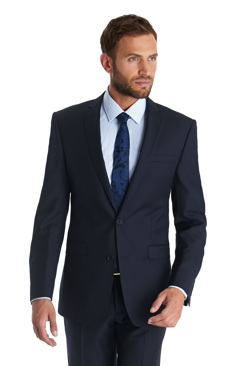 French Connection, single breasted two button Plain Navy suit ...