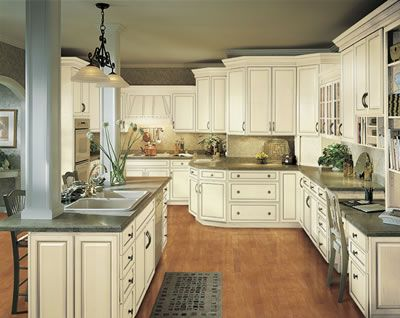 Kitchen Example Displaying The Armstrong Cabinet Style Waverly With The  Vanilla Cream Pewter Glaze Finish
