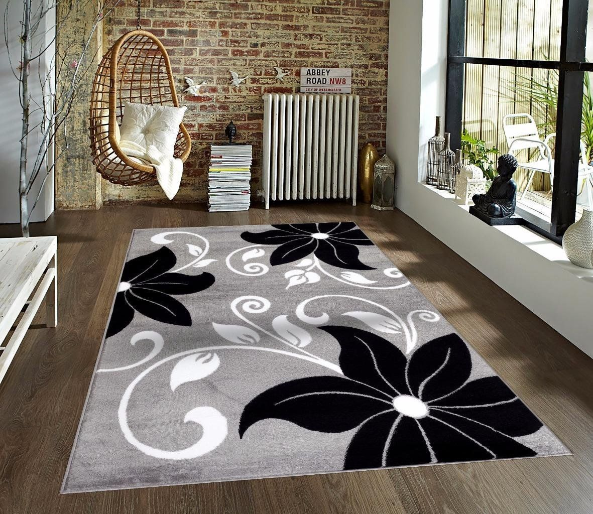 Amazon Com T1014 Gray Black White 7 10 X 10 2 Floral Oriental Area Rug Carpet Rugs On Carpet Area Rugs Contemporary Area Rugs