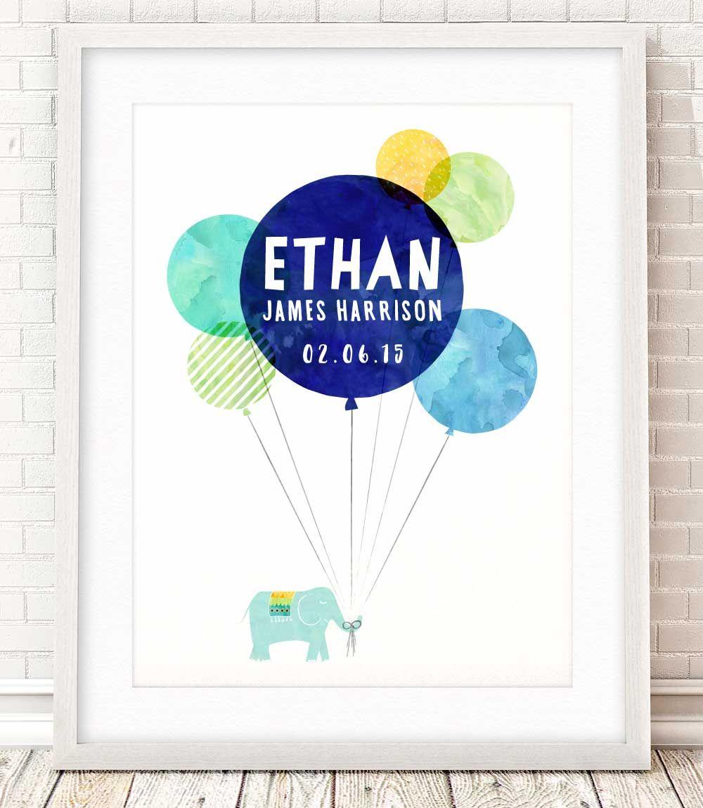 Balloons u0026 Elephant Baby Boyu0027s Name Wall Art. Nursery Decor - New Baby Gift  sc 1 st  Pinterest & Balloons u0026 Elephant Baby Boyu0027s Name Wall Art. Nursery Decor - New ...