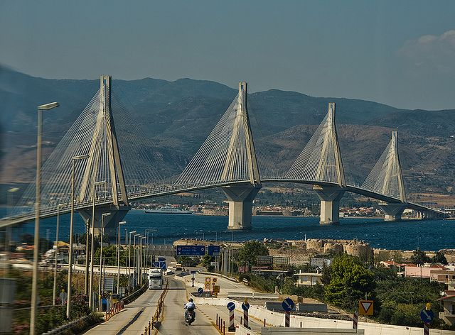 The Rio-Antirio bridge is located to the north of Patras and links the Peloponnese peninsula to mainland Greece, and was completed in August 2004.