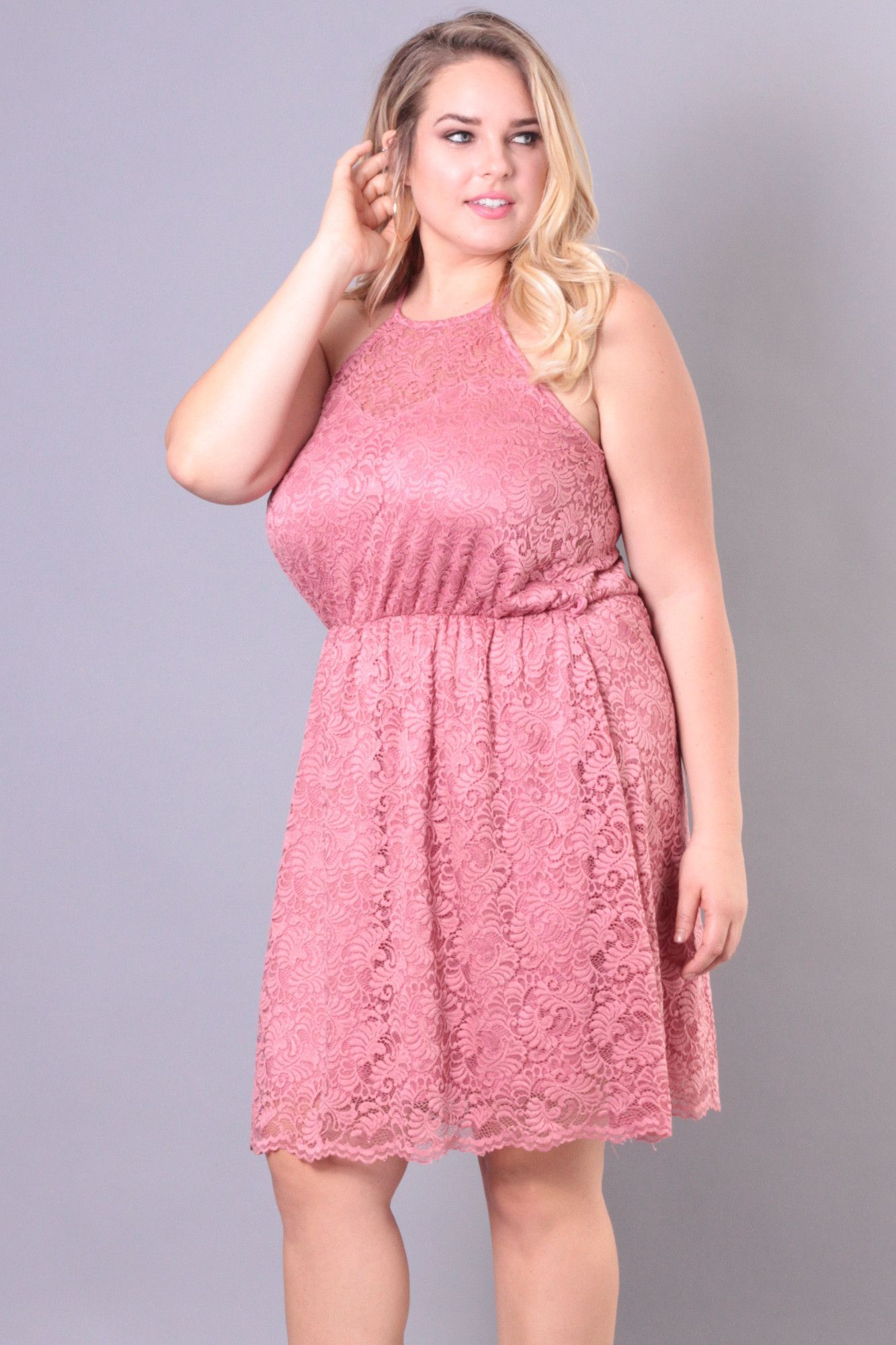 Plus Size Lace Overlay Dress - Pink | Products | Pinterest
