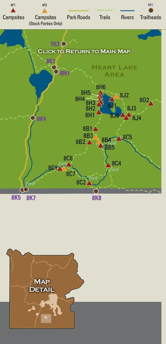 Map Showing Backcountry Campsites In The Heart Lake And Snake River