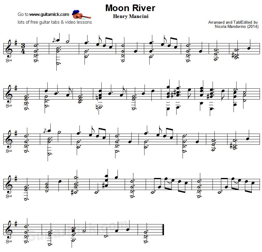 Moon River Fingerstyle Guitar Sheet Music Muziek Pinterest
