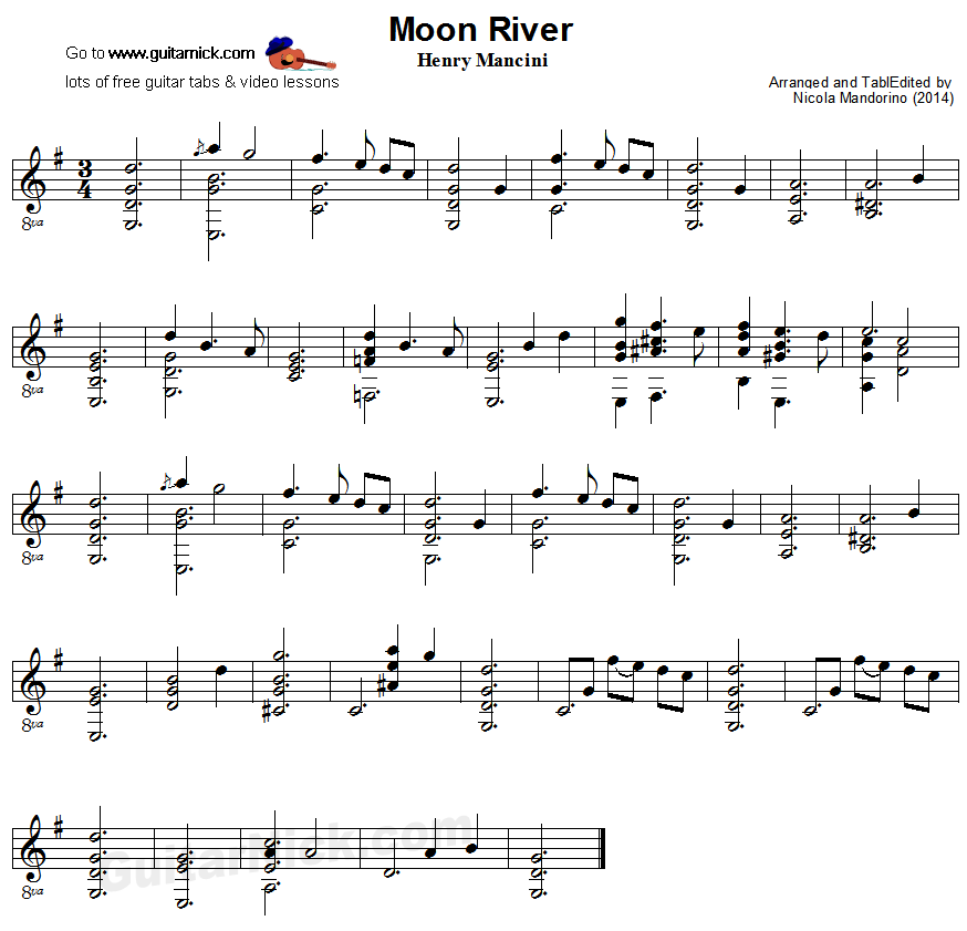 Guitar besame mucho guitar chords and lyrics : Moon River - fingerstyle guitar sheet music | Sheet music ...