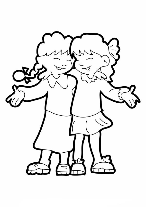 Two Girls Hugging On Friendship Day Coloring Page : Coloring Sky Libro De  Colores, Páginas Para Colorear Para Niños, Anime Best Friends