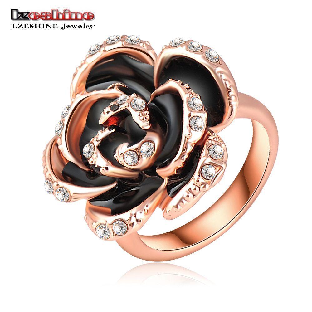 Enement Ring Deals   Black Rose 18k Gold Plated Ring Health Rhinestone Austrian Crystal