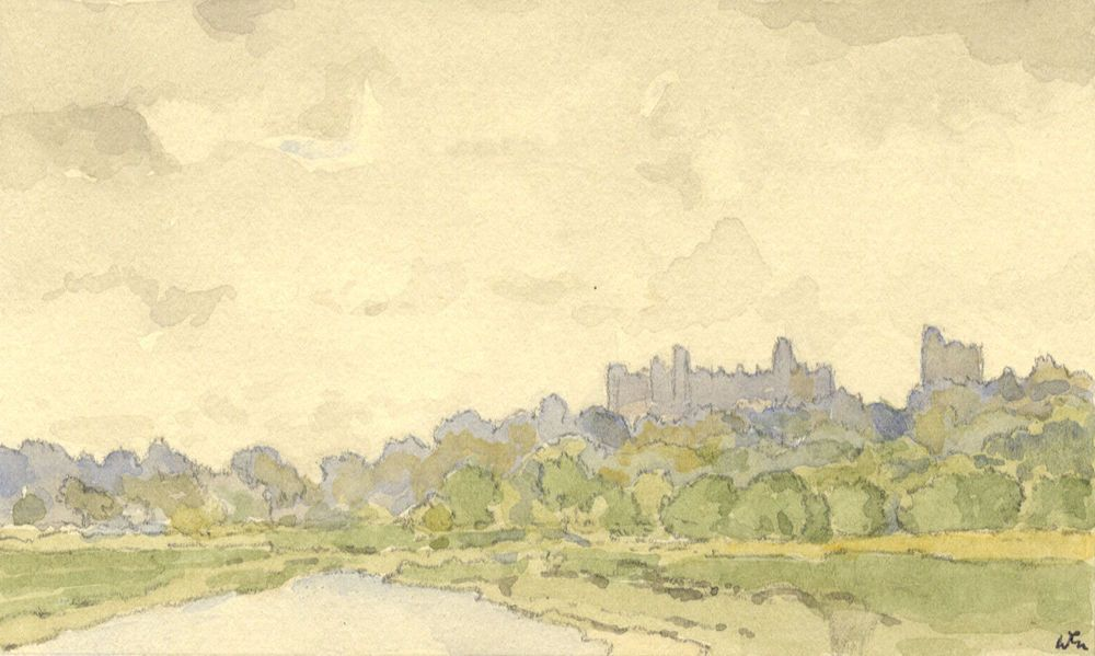 """W.G. Lewis - Mid 20th Century Watercolour, Arundel Castle from """"Black Rabbit"""""""