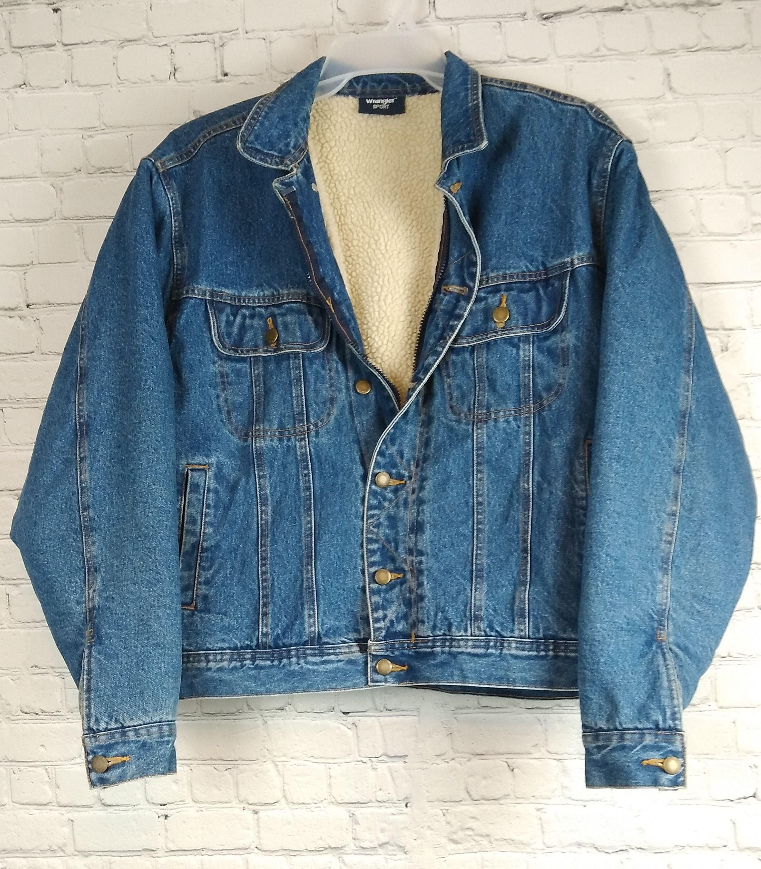 Vintage 1990 S Wrangler Sport Sherpa Lined Denim Jacket Men S Sherpa Lined Denim Jacket Denim Jacket Lined Denim Jacket [ 2961 x 2592 Pixel ]