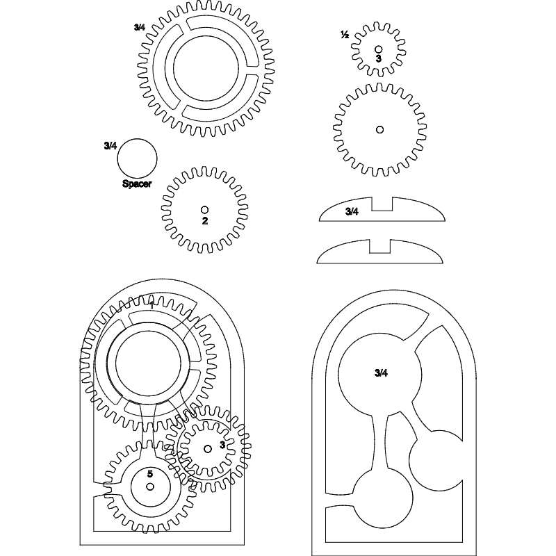 Wooden gear clock dxf File - CNCFiles Community | cuckoo clock