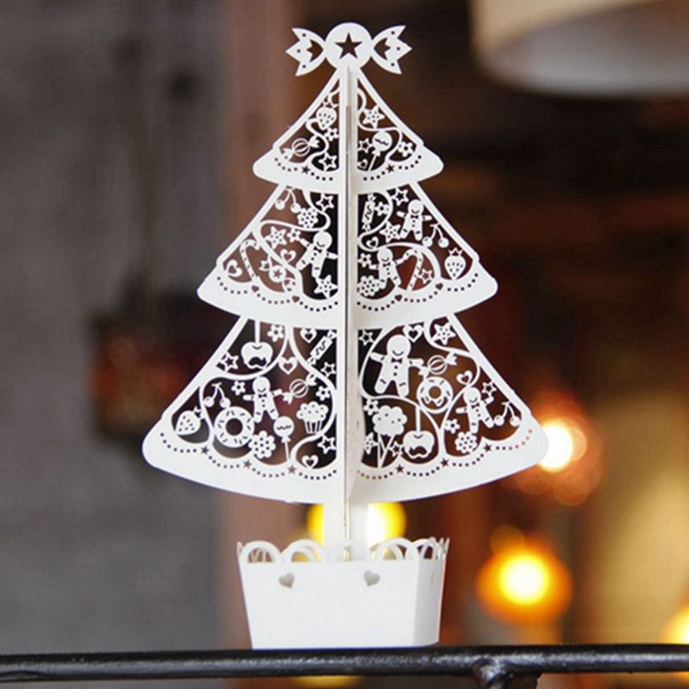 Bell Decoration 500Pcslot 3D Handmade Laser Cut Christmas Bell Tree Merry