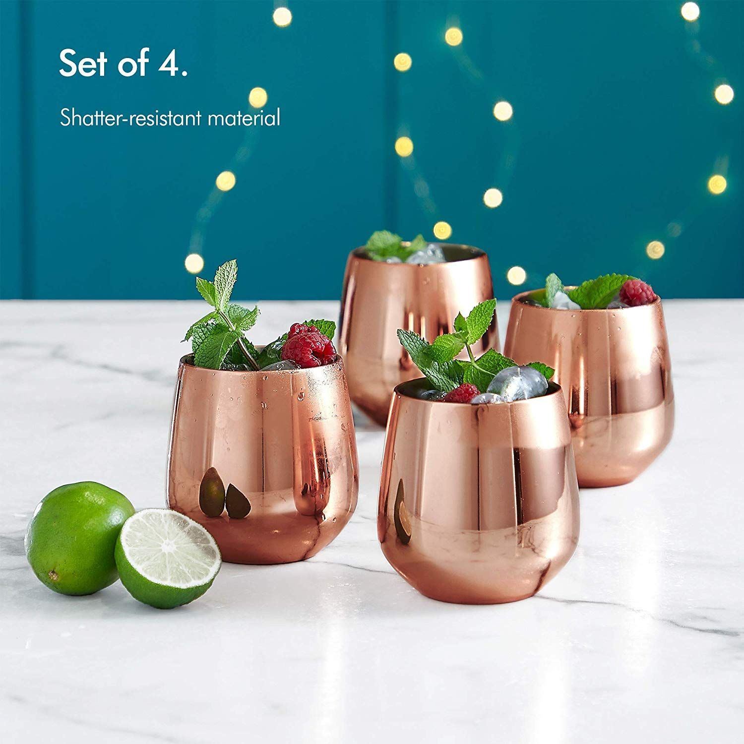 11aa5d81c50 Amazon.com: VonShef Copper Stemless Wine Glasses, Stainless Steel 12oz  Double Walled Insulated, Set of 4 Wine Tumblers with Gift Box: Kitchen &  Dining