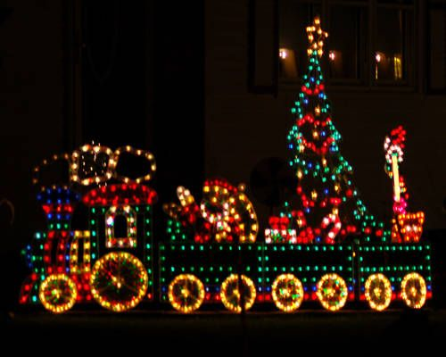 outdoor christmas train light display