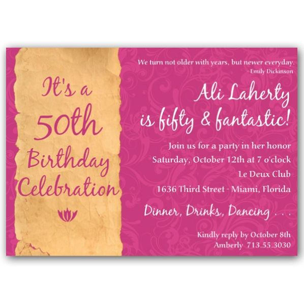 pink free 50th birthday party invitations templates Birthday - dinner party invitation sample