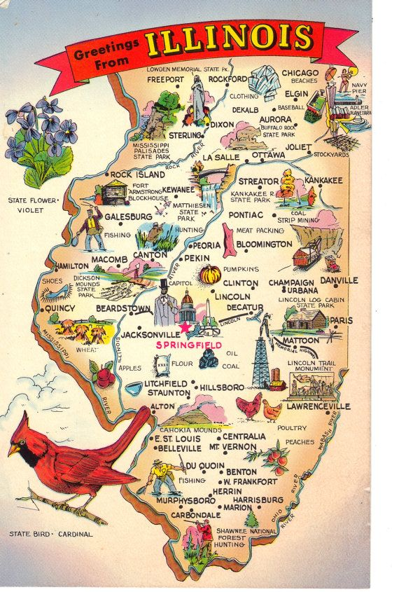 Greetings From Illinois State Map Postcard By Heritagepostcards - United states map illinois