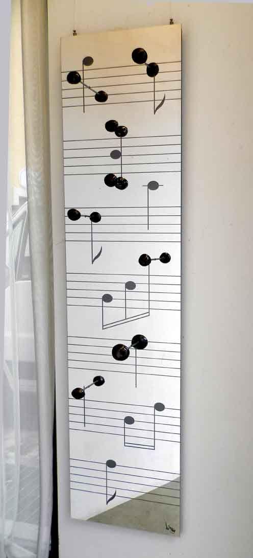 Attaccapanni Da Parete Con Specchio.Appendiabiti Note Musicali In Dibond Specchio E Ceramica Case Nel