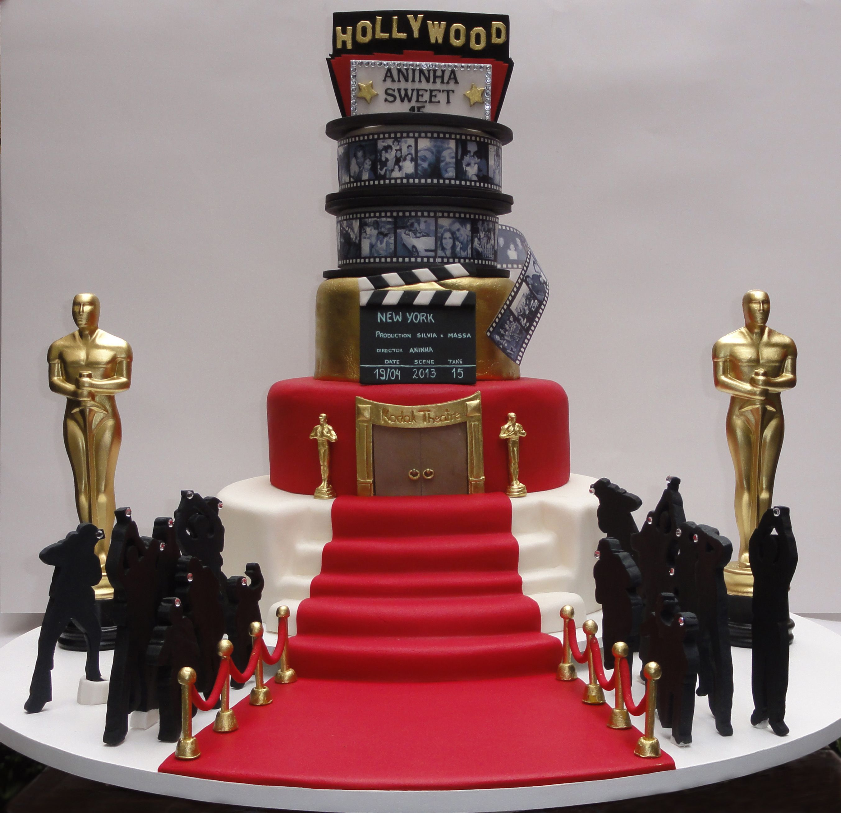 bolo oscar hollywood 15 anos sweet 15 oscar hollywood cake. Black Bedroom Furniture Sets. Home Design Ideas
