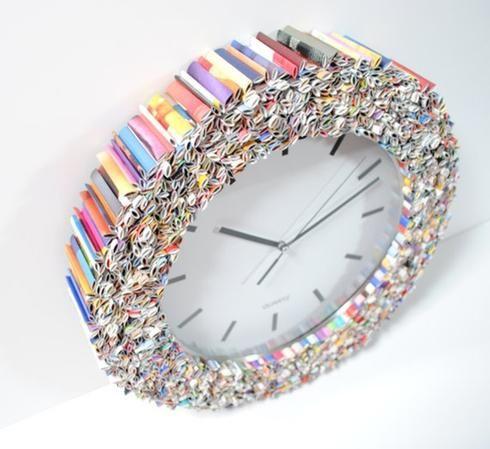13 idées pour décorer avec de vieux magazines recyclés | horloge