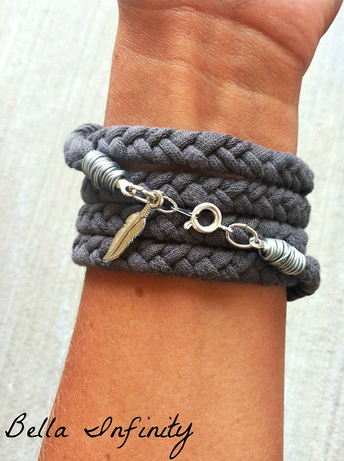 Bella Infinity Braided Wrap Bracelet Grey Up-Cycled Jersey Silver Pendant Boho Chic. $15.00, via Etsy.