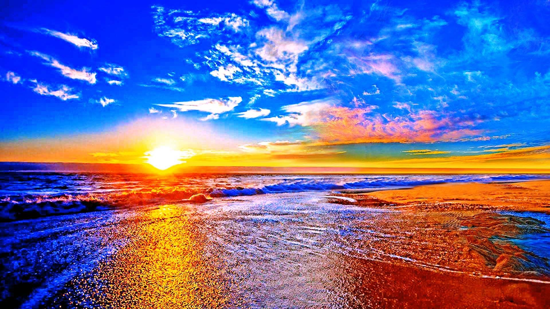 Beach At Sunset Wallpapers Live