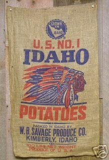 Idaho potato bags for sale on ebay - Idaho Indian Chief ...
