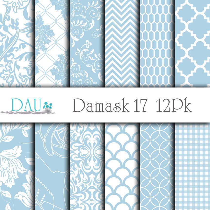 12 Pack Damask Floral Scallops Gingham Light Blue Instant