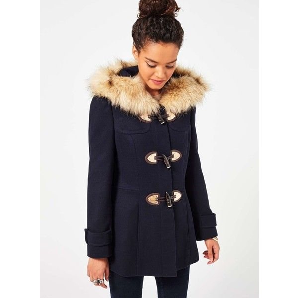 Navy fur collar parka jacket miss selfridge